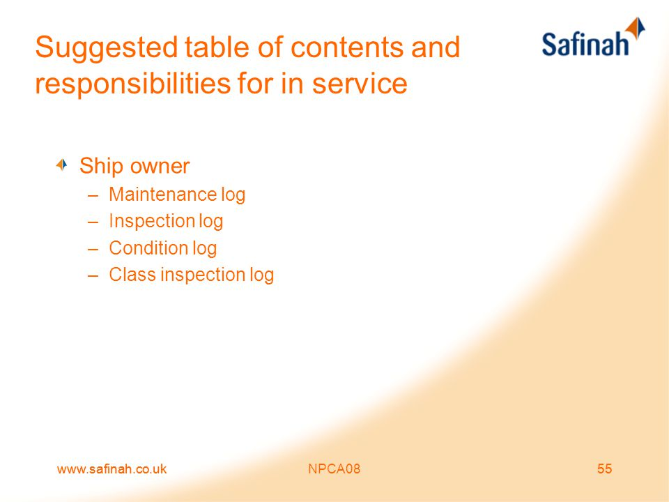 Suggested table of contents and responsibilities for in service