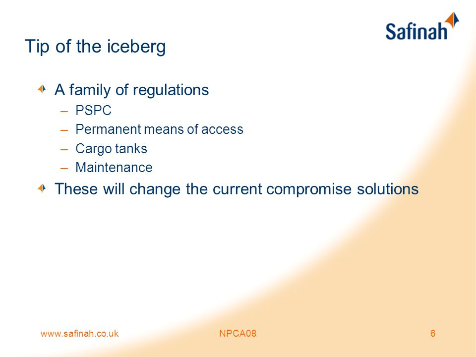 Tip of the iceberg A family of regulations