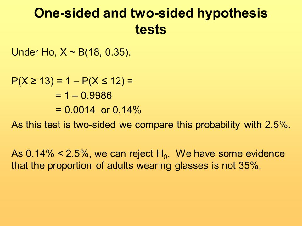 One-sided and two-sided hypothesis tests