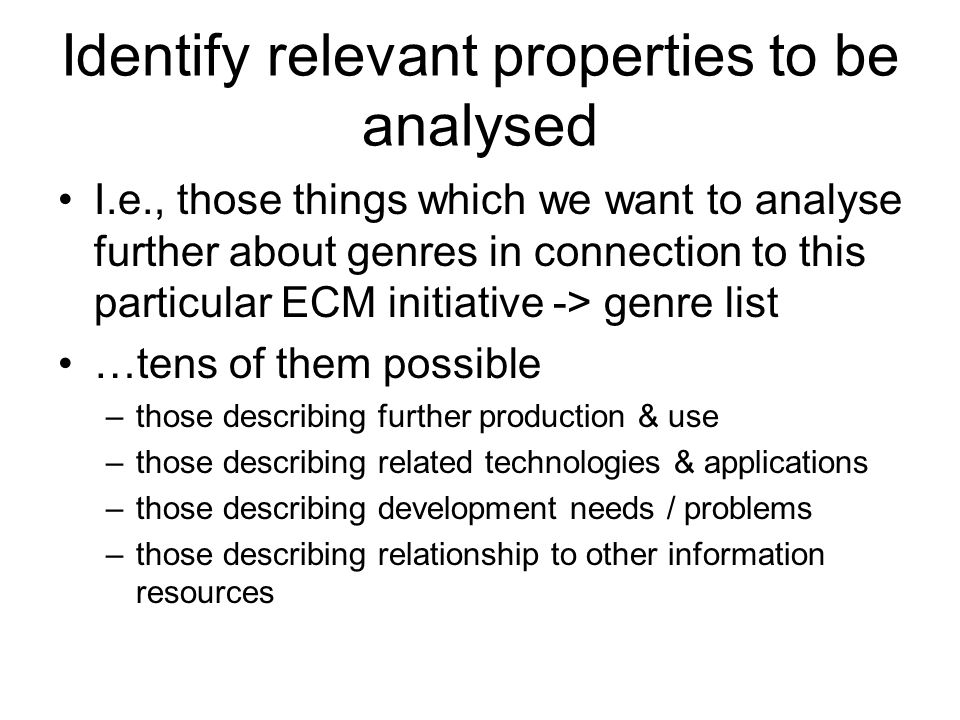 Identify relevant properties to be analysed