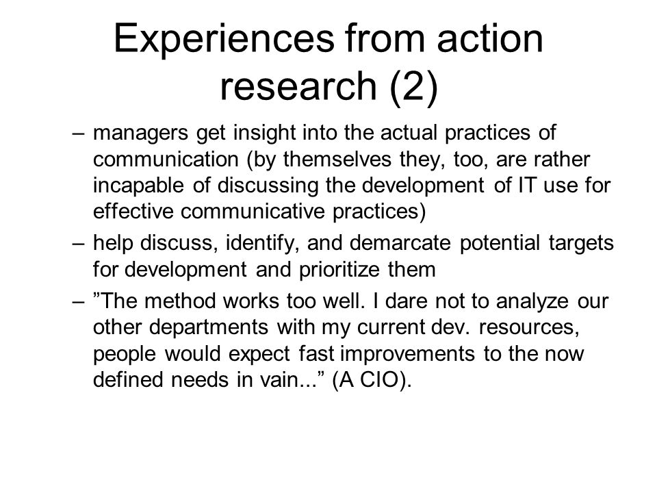 Experiences from action research (2)