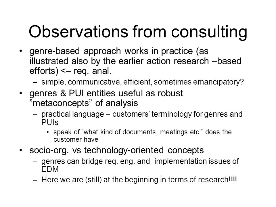 Observations from consulting