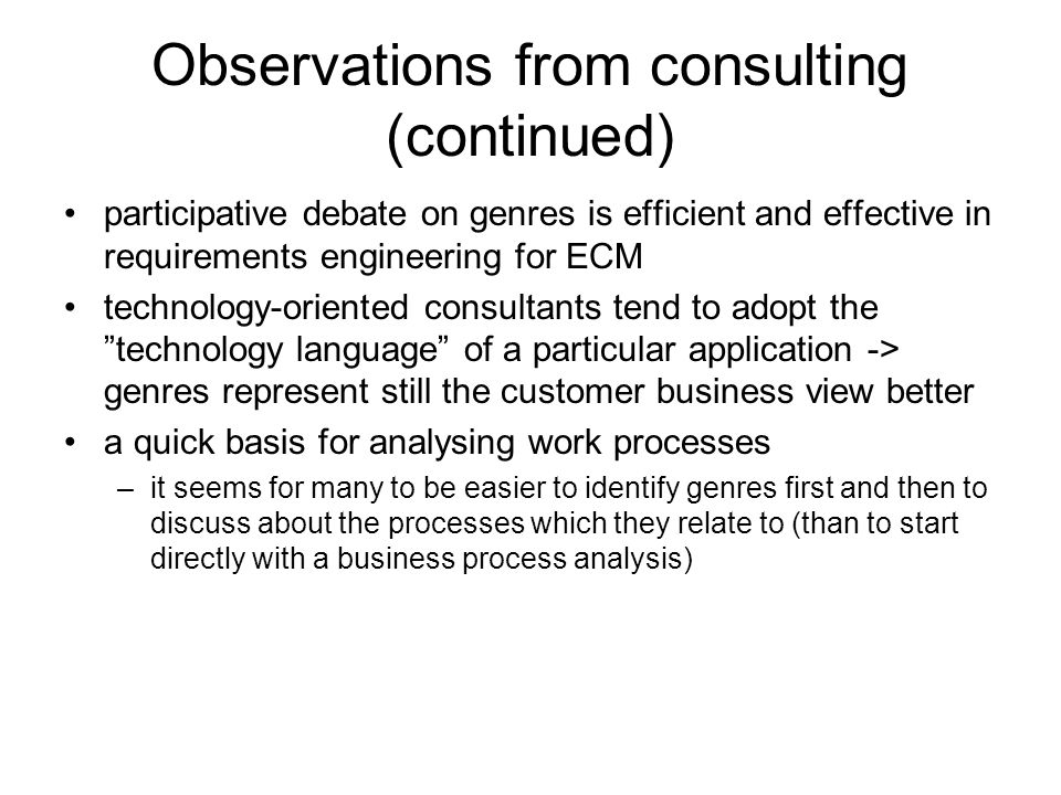 Observations from consulting (continued)