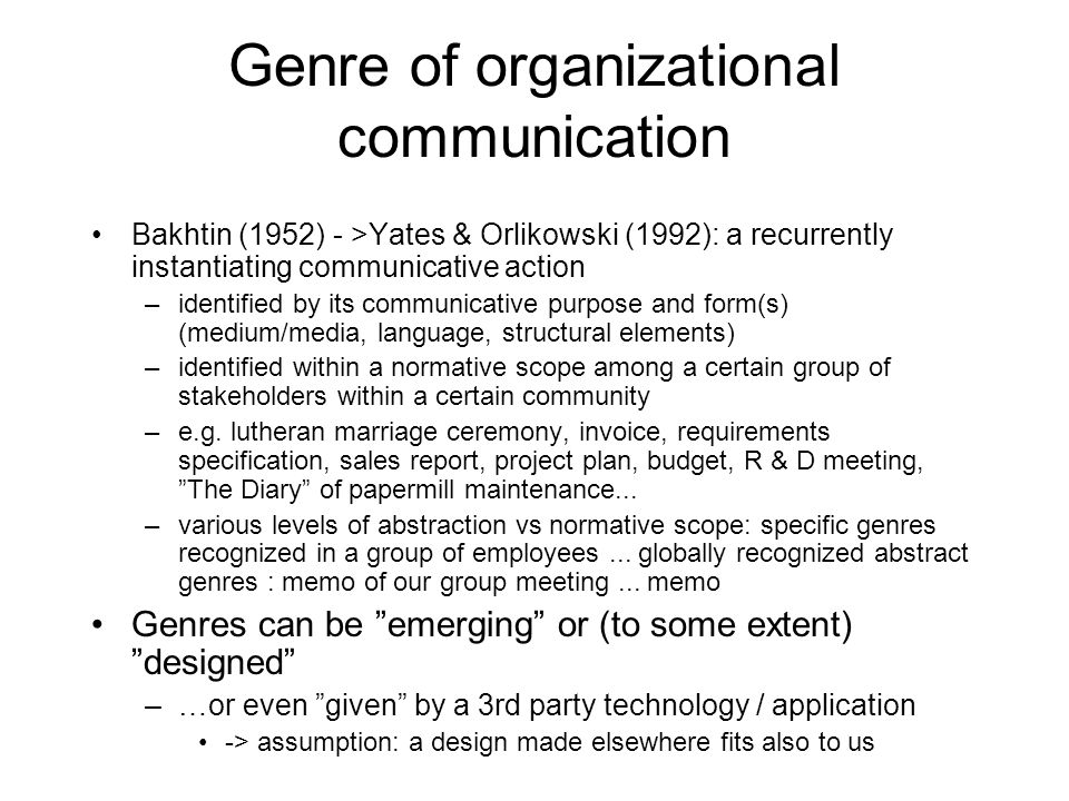 Genre of organizational communication