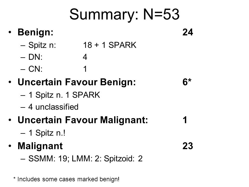 Summary: N=53 Benign: 24 Uncertain Favour Benign: 6*