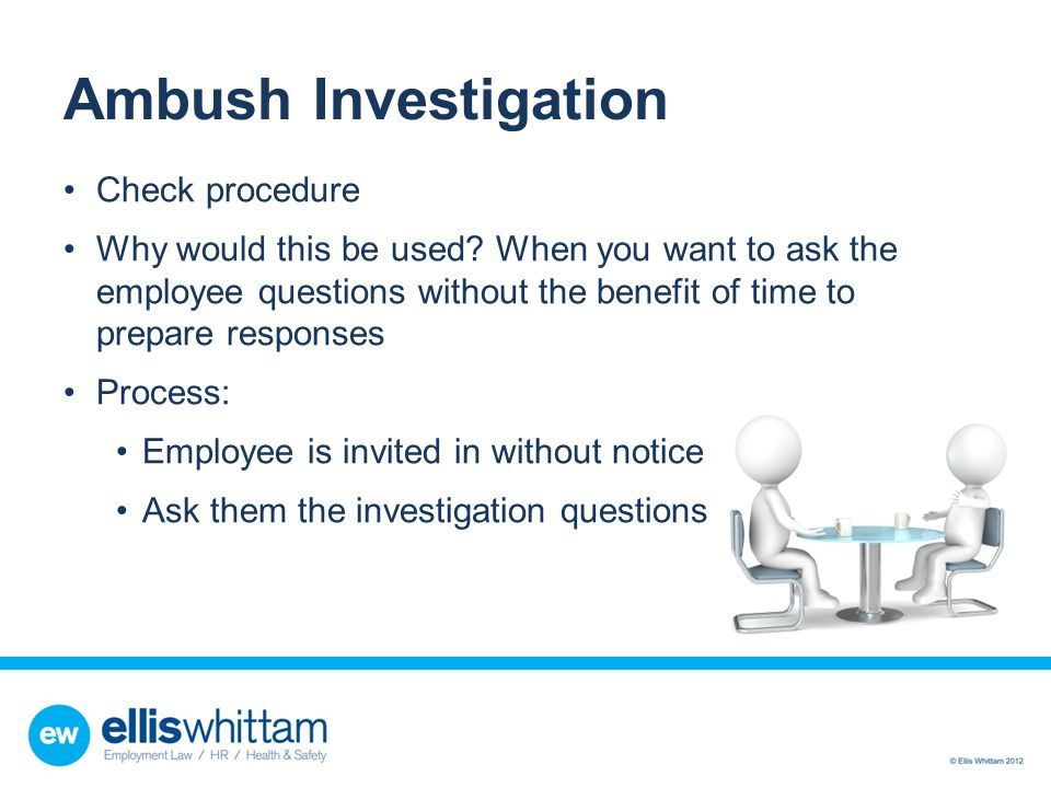 Ambush Investigation Check procedure