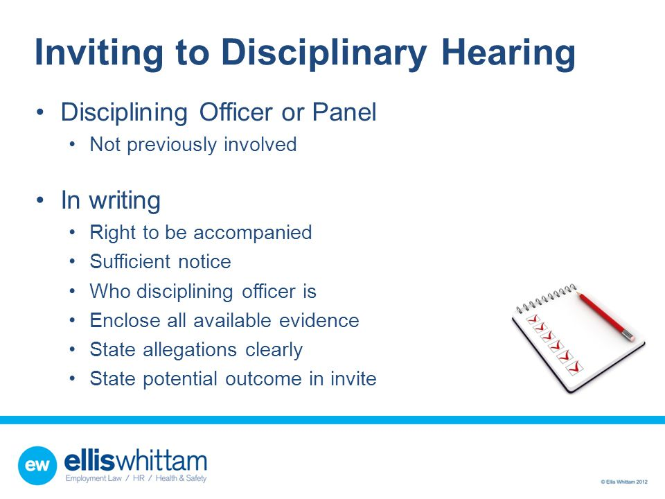 Inviting to Disciplinary Hearing