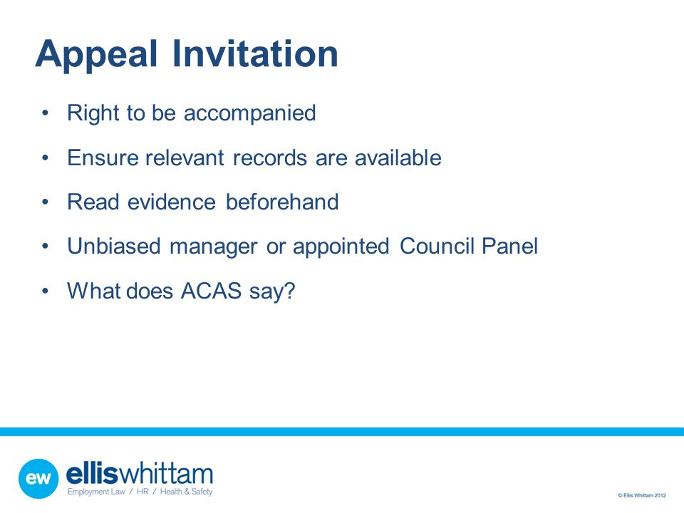 Appeal Invitation Right to be accompanied