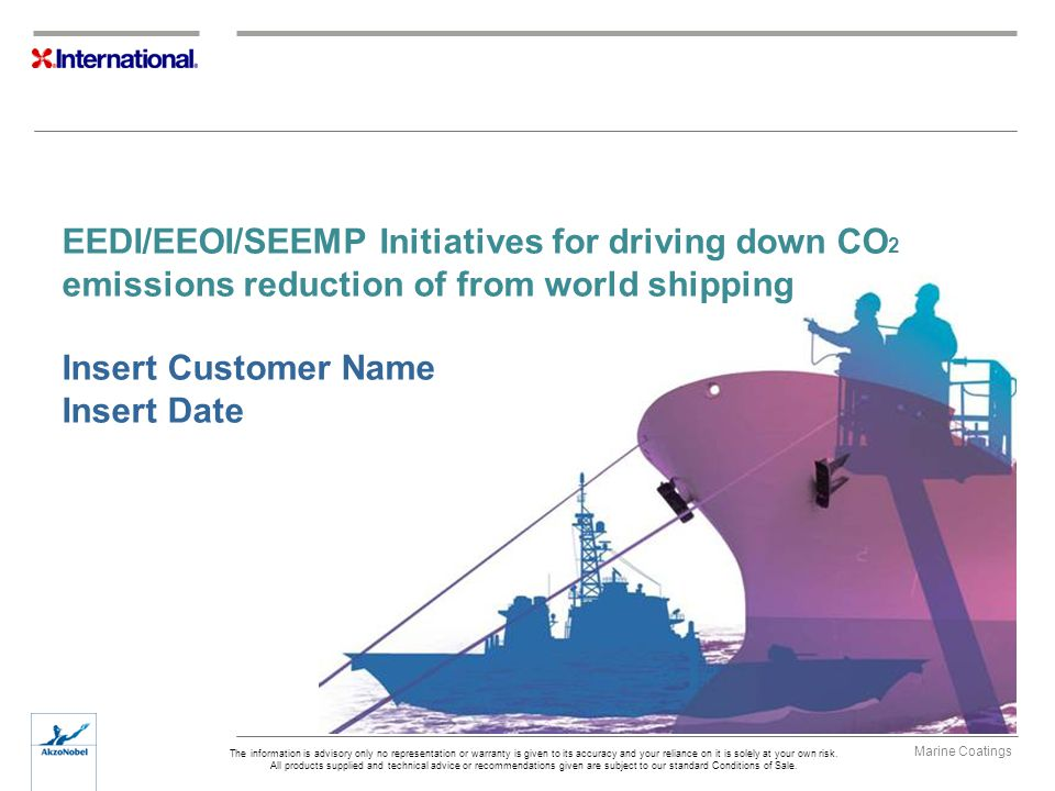 EEDI/EEOI/SEEMP Initiatives for driving down CO2 emissions reduction of from world shipping Insert Customer Name Insert Date