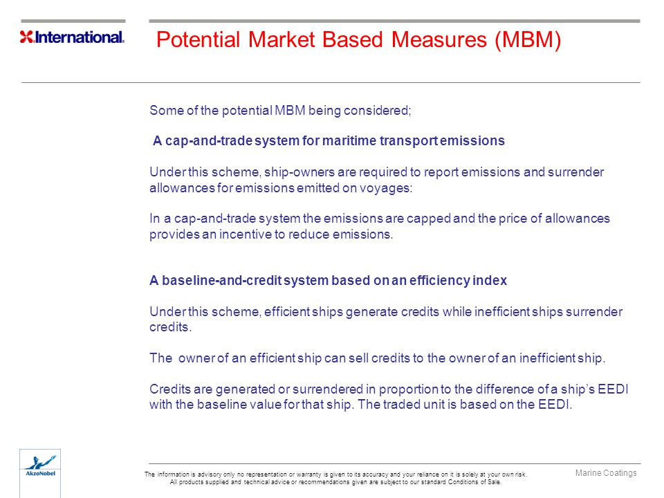 Potential Market Based Measures (MBM)