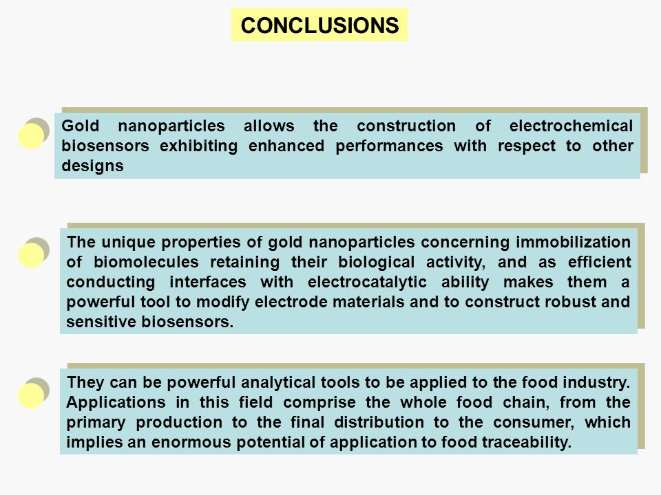 CONCLUSIONS Gold nanoparticles allows the construction of electrochemical biosensors exhibiting enhanced performances with respect to other designs.