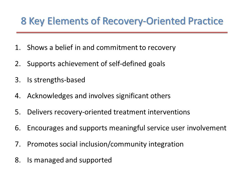 8 Key Elements of Recovery-Oriented Practice
