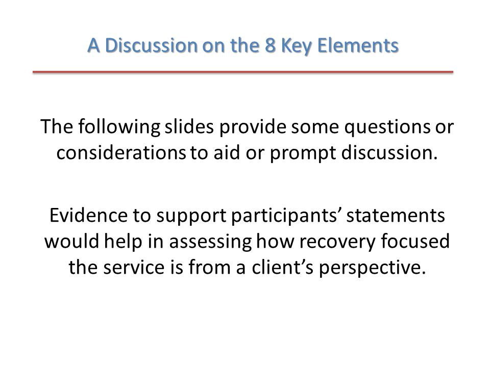 A Discussion on the 8 Key Elements