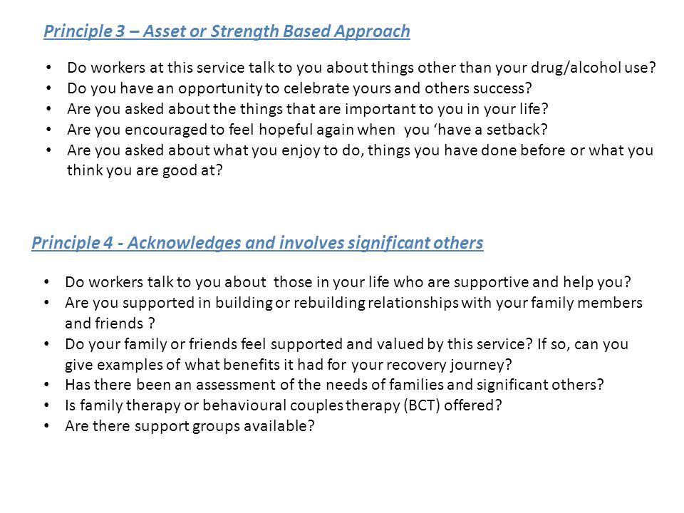 Principle 3 – Asset or Strength Based Approach