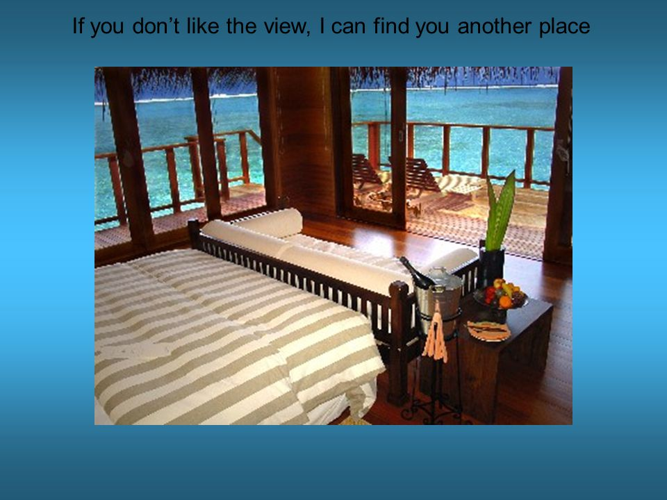 If you don't like the view, I can find you another place