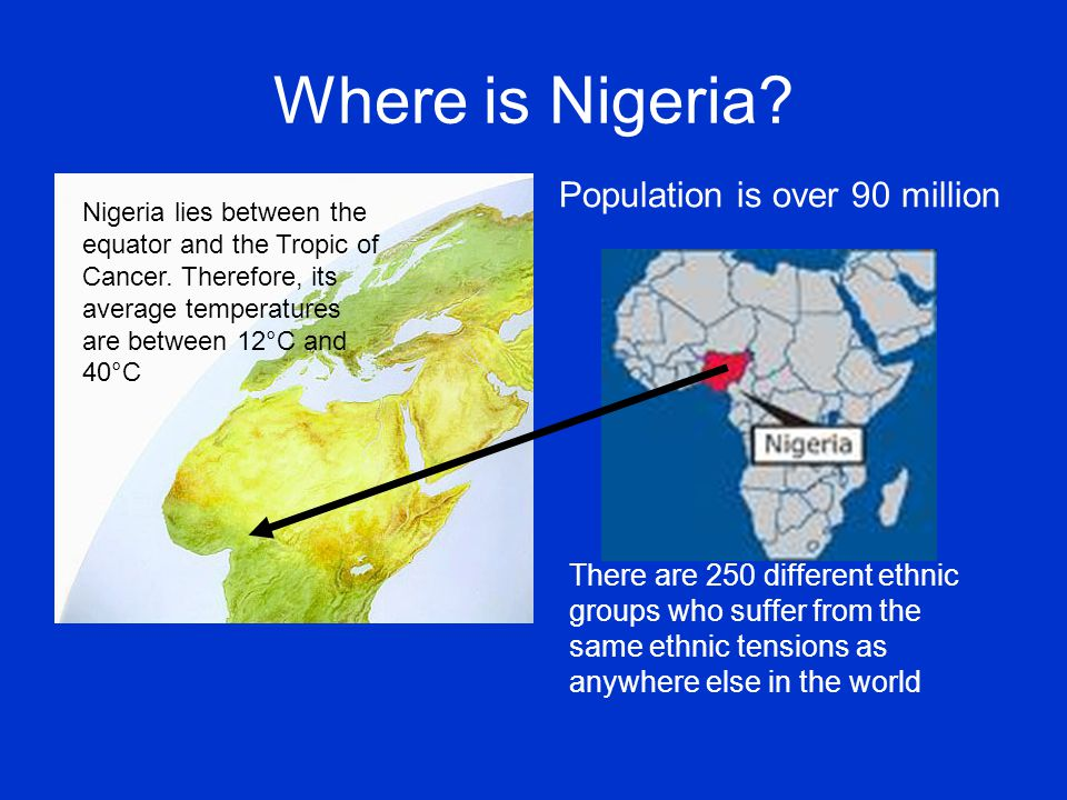 Where is Nigeria Population is over 90 million