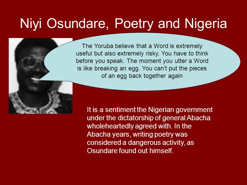 Niyi Osundare, Poetry and Nigeria