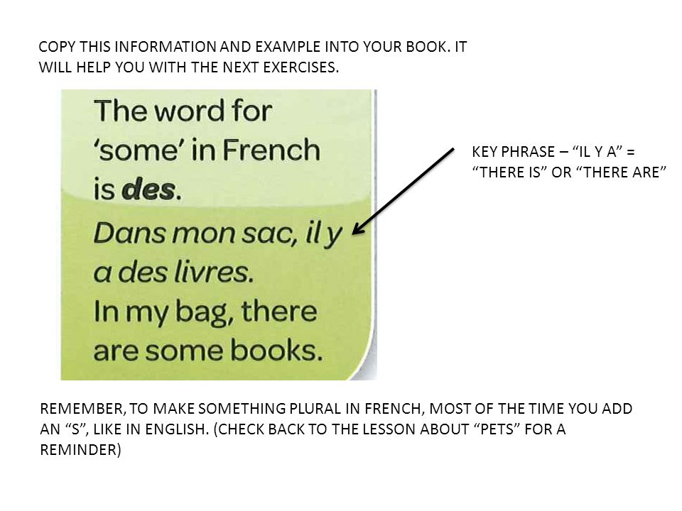 COPY THIS INFORMATION AND EXAMPLE INTO YOUR BOOK