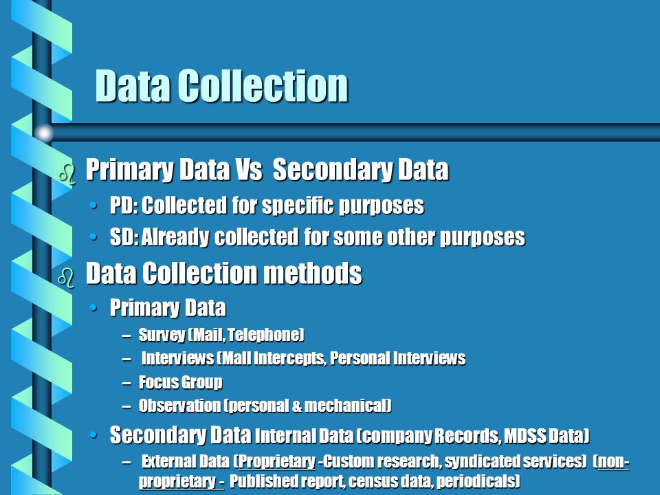 primary and secondary methods Primary market research can be quantitative or qualitative in usually secondary data is not so recent and it may not be specific to the place or situation.