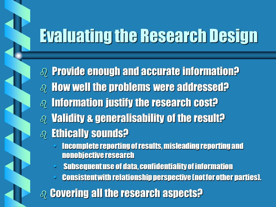 Evaluating the Research Design