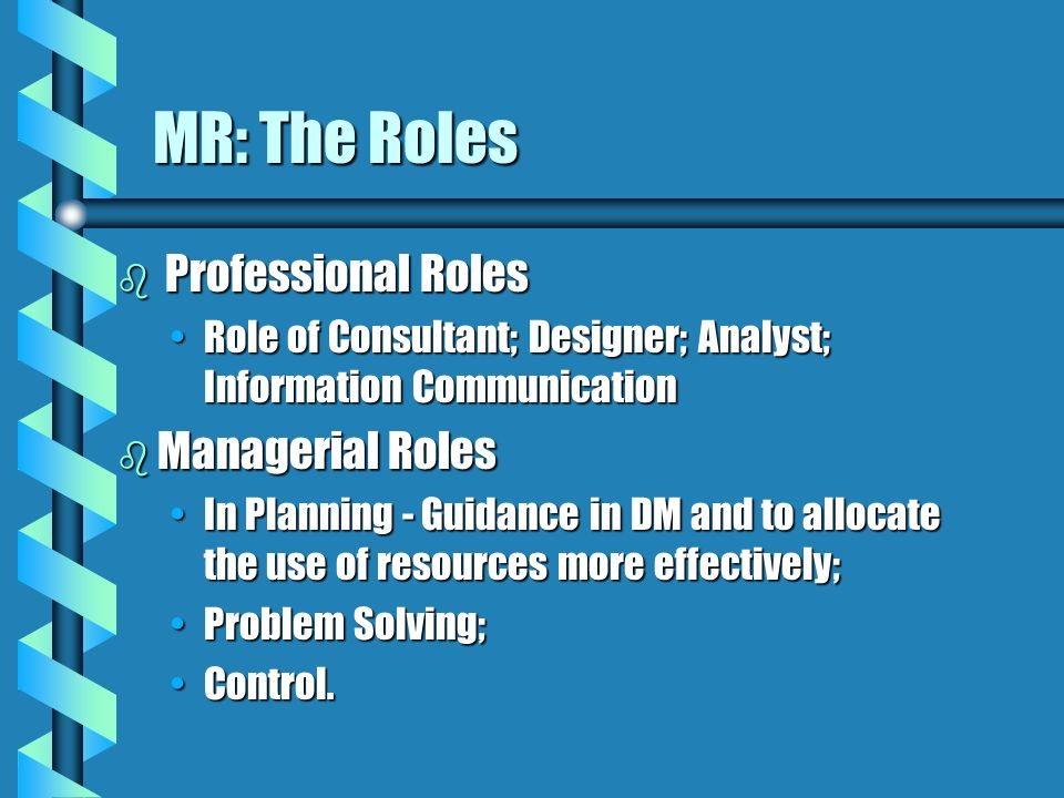 MR: The Roles Professional Roles Managerial Roles