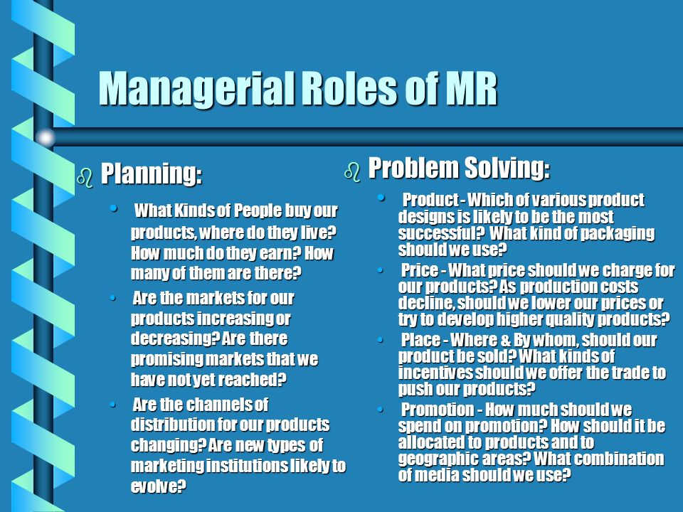 Managerial Roles of MR Problem Solving: Planning: