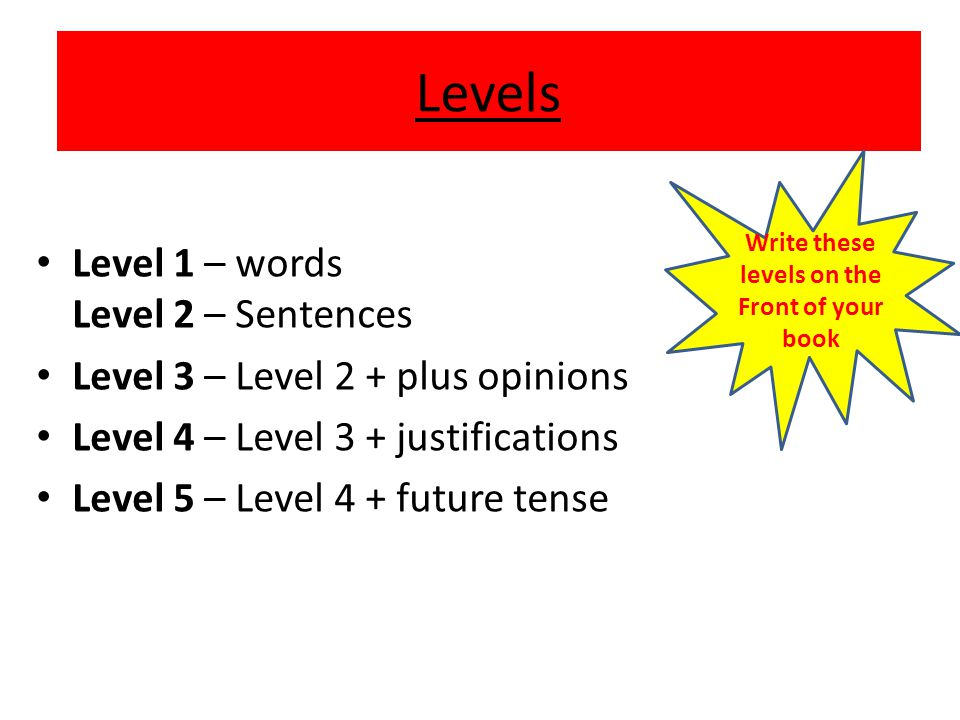 Write these levels on the Front of your book