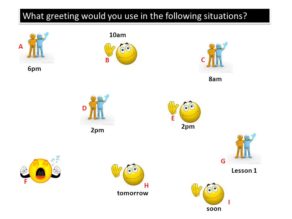 What greeting would you use in the following situations