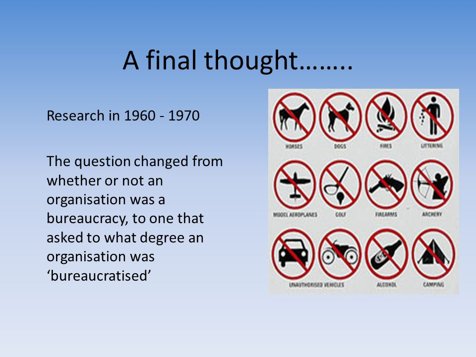 A final thought…….. Research in 1960 - 1970