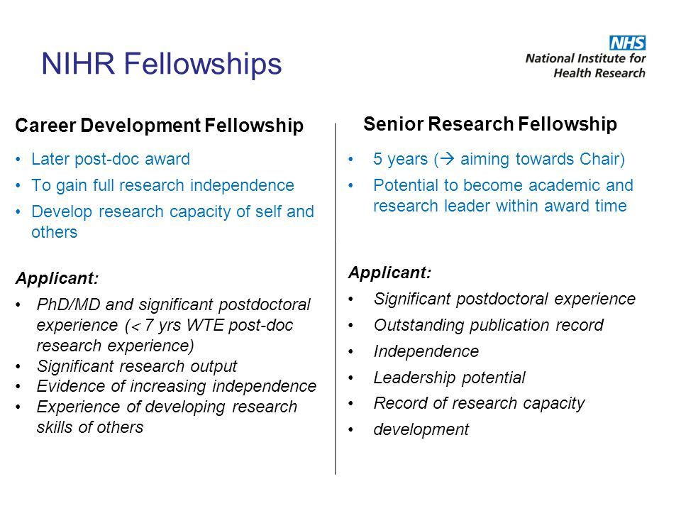 NIHR Fellowships Senior Research Fellowship