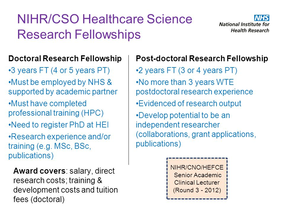 NIHR/CSO Healthcare Science Research Fellowships