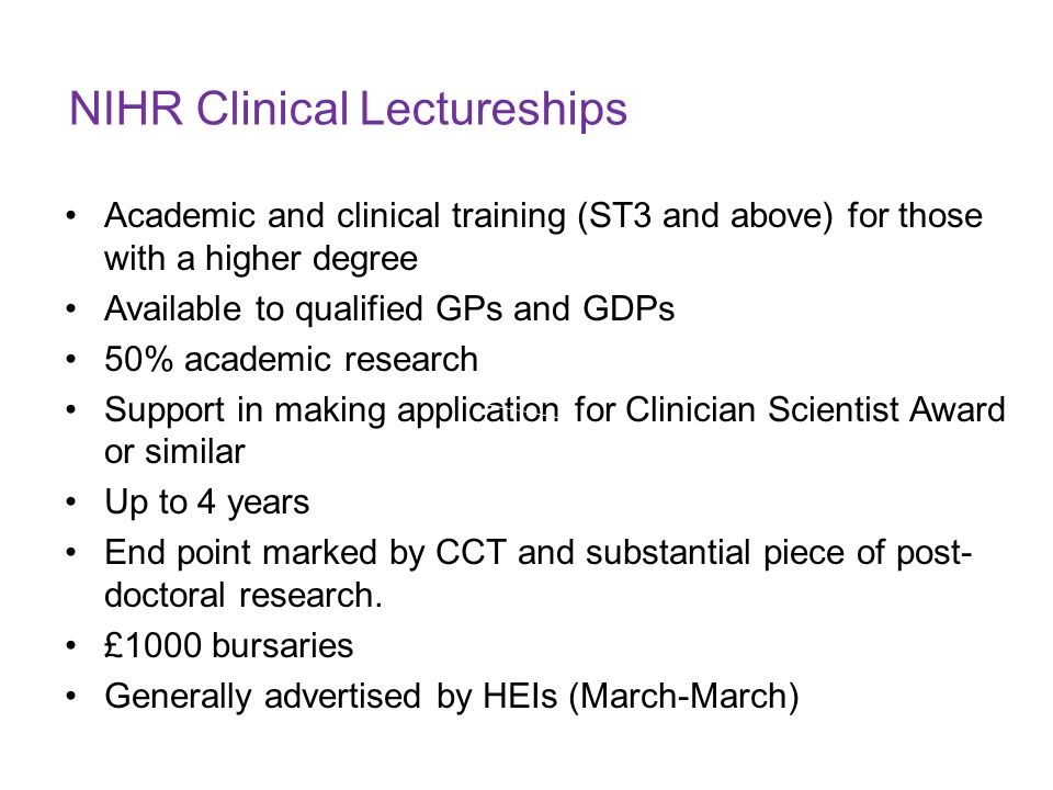 NIHR Clinical Lectureships