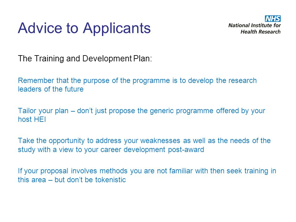 Advice to Applicants The Training and Development Plan: