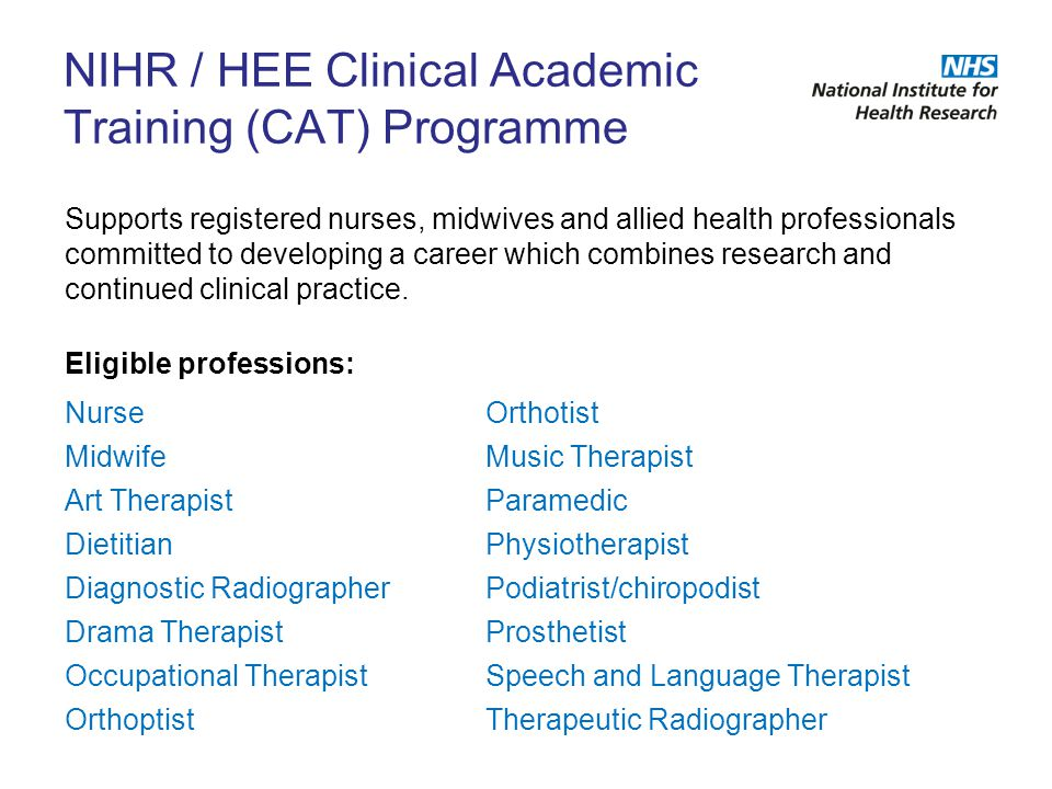 NIHR / HEE Clinical Academic Training (CAT) Programme
