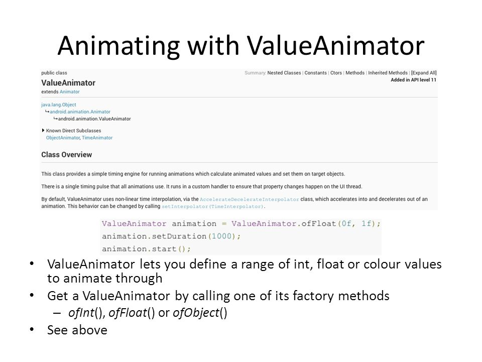 Animating with ValueAnimator