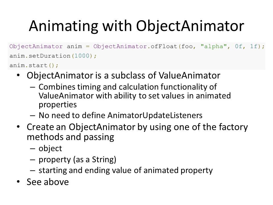 Animating with ObjectAnimator