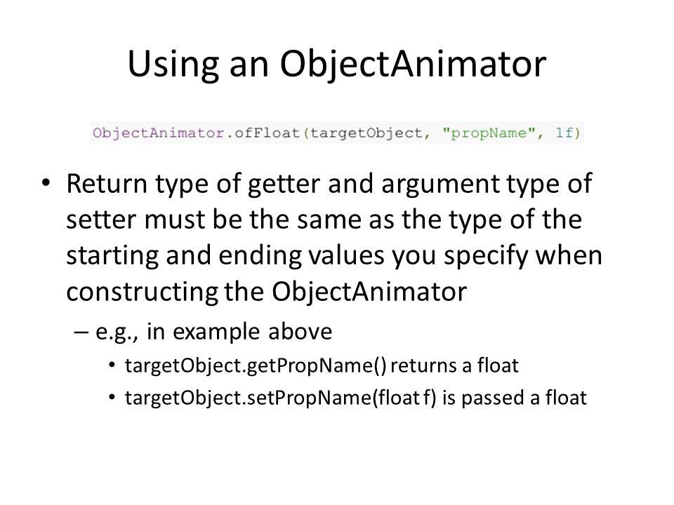 Using an ObjectAnimator