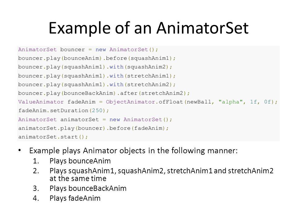 Example of an AnimatorSet