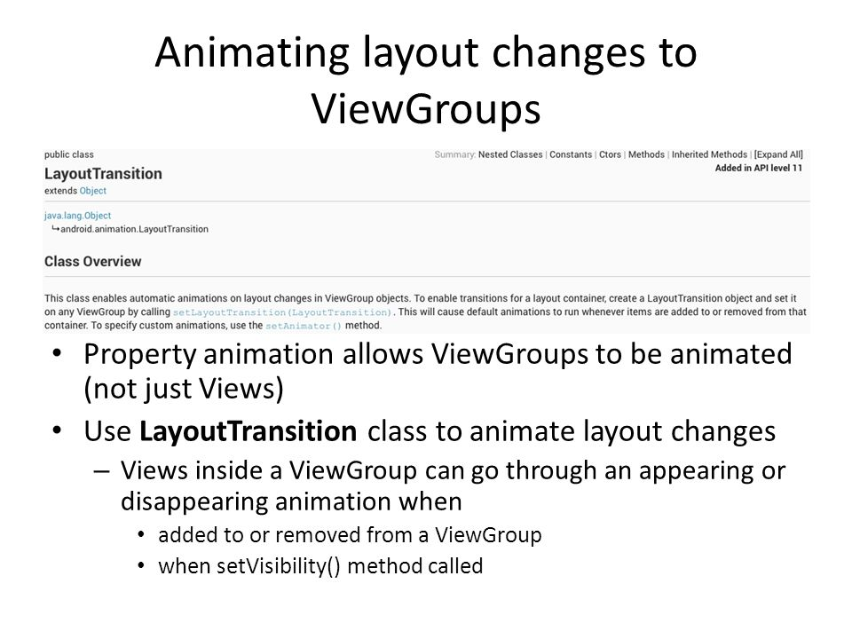 Animating layout changes to ViewGroups