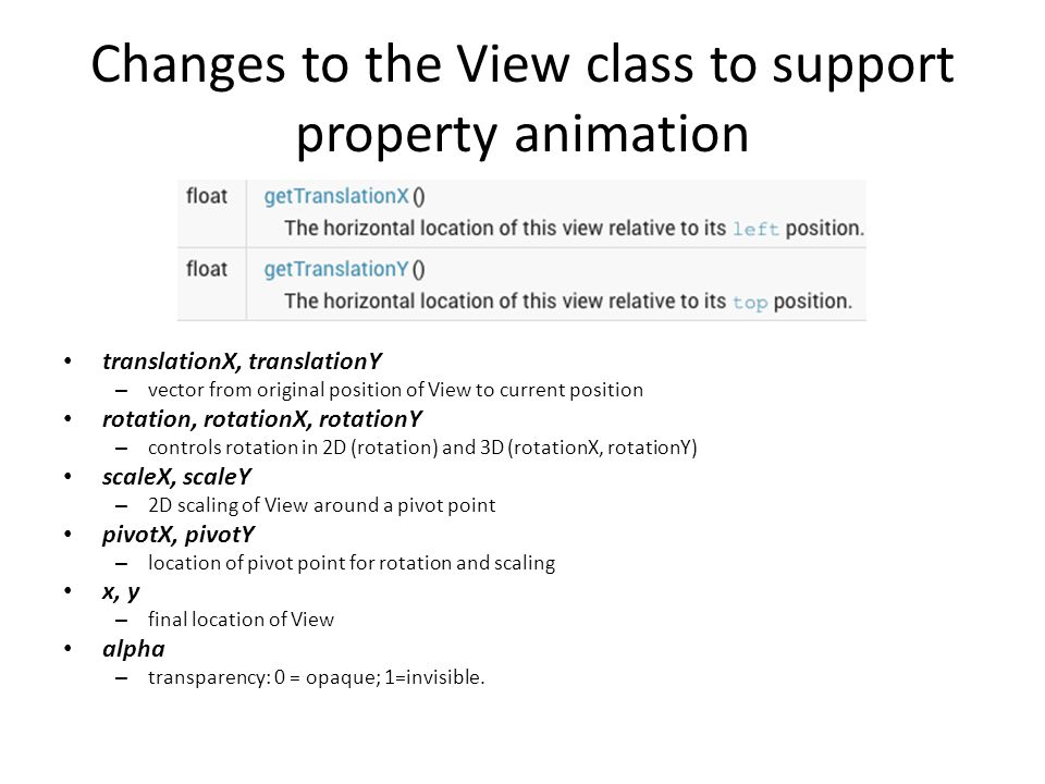 Changes to the View class to support property animation