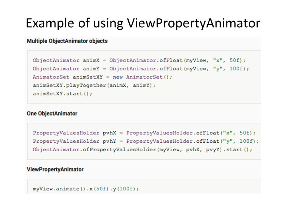 Example of using ViewPropertyAnimator