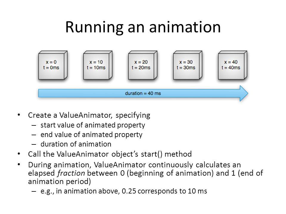 Running an animation Create a ValueAnimator, specifying