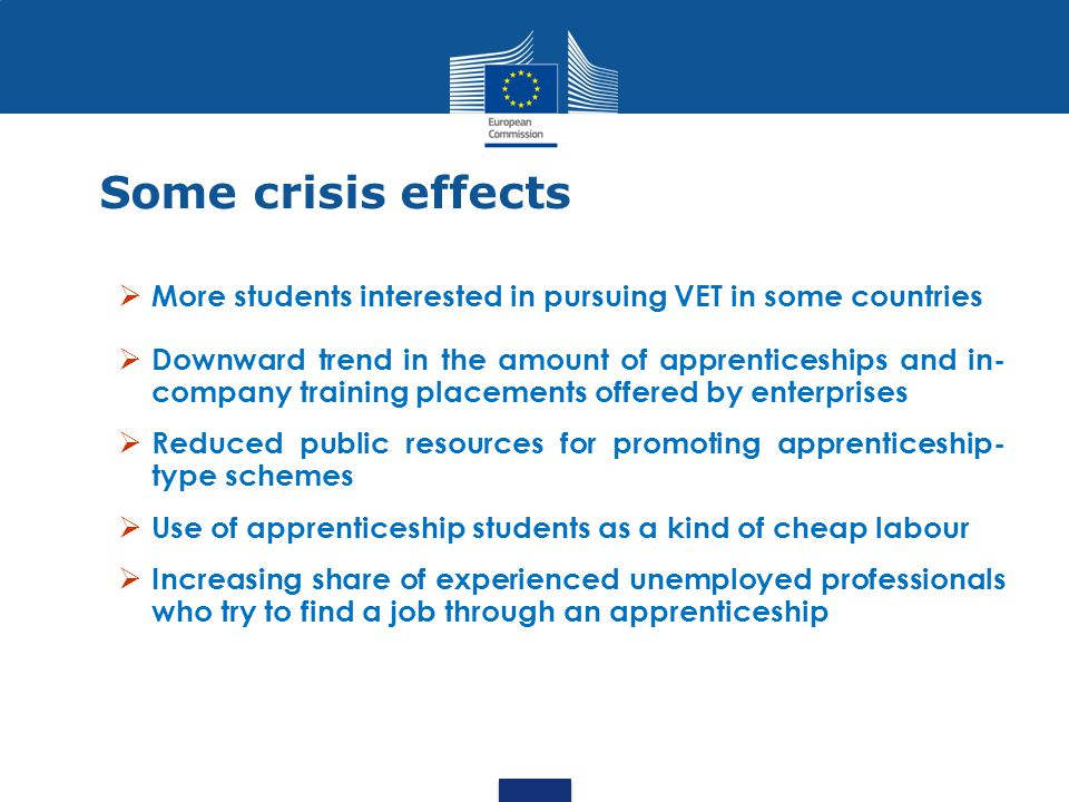 Some crisis effects More students interested in pursuing VET in some countries.