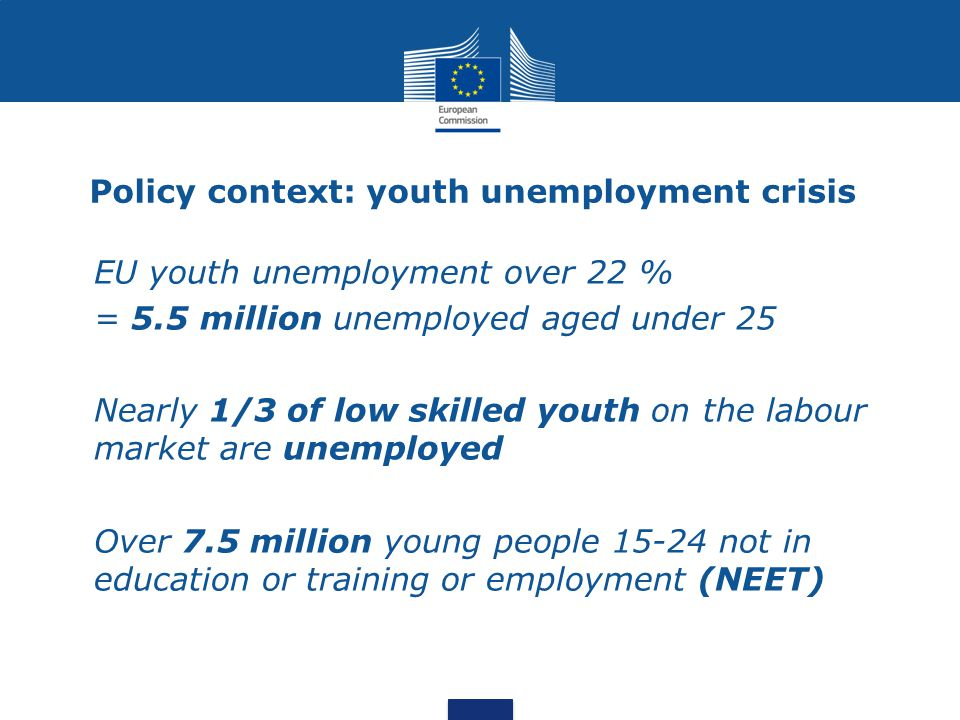 Policy context: youth unemployment crisis