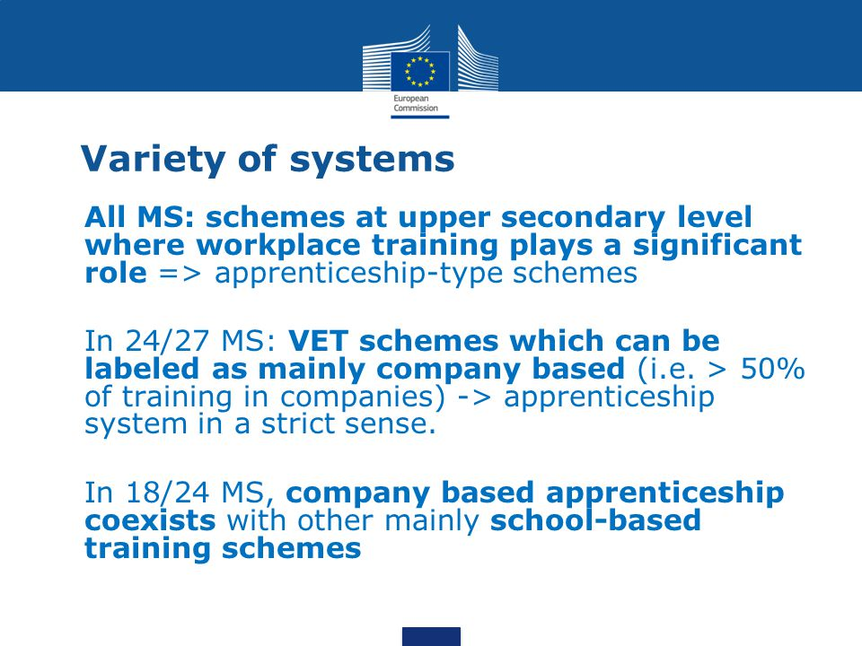 Variety of systems All MS: schemes at upper secondary level where workplace training plays a significant role => apprenticeship-type schemes.