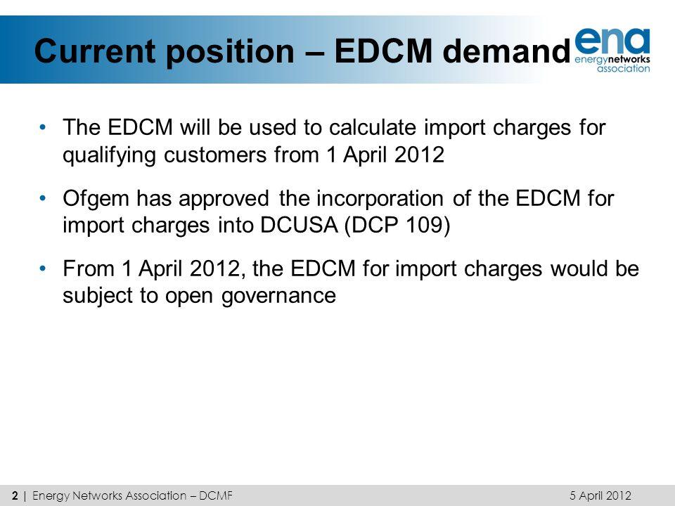 Current position – EDCM demand
