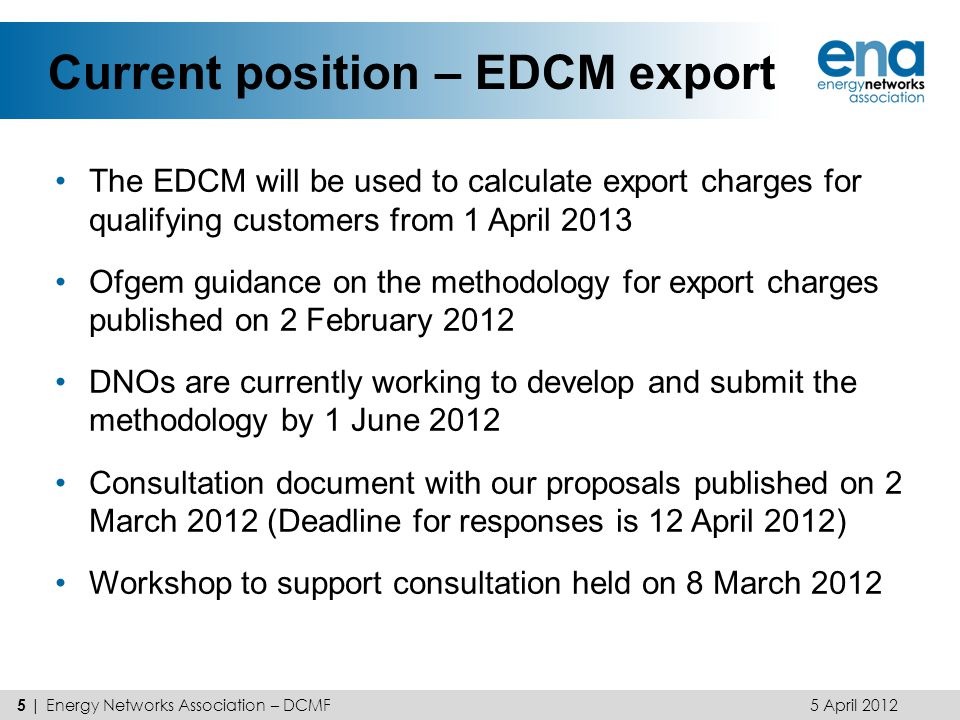 Current position – EDCM export
