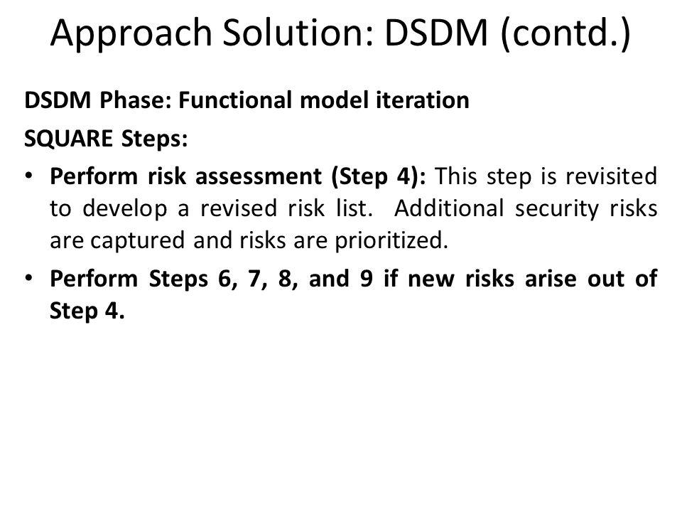 Approach Solution: DSDM (contd.)
