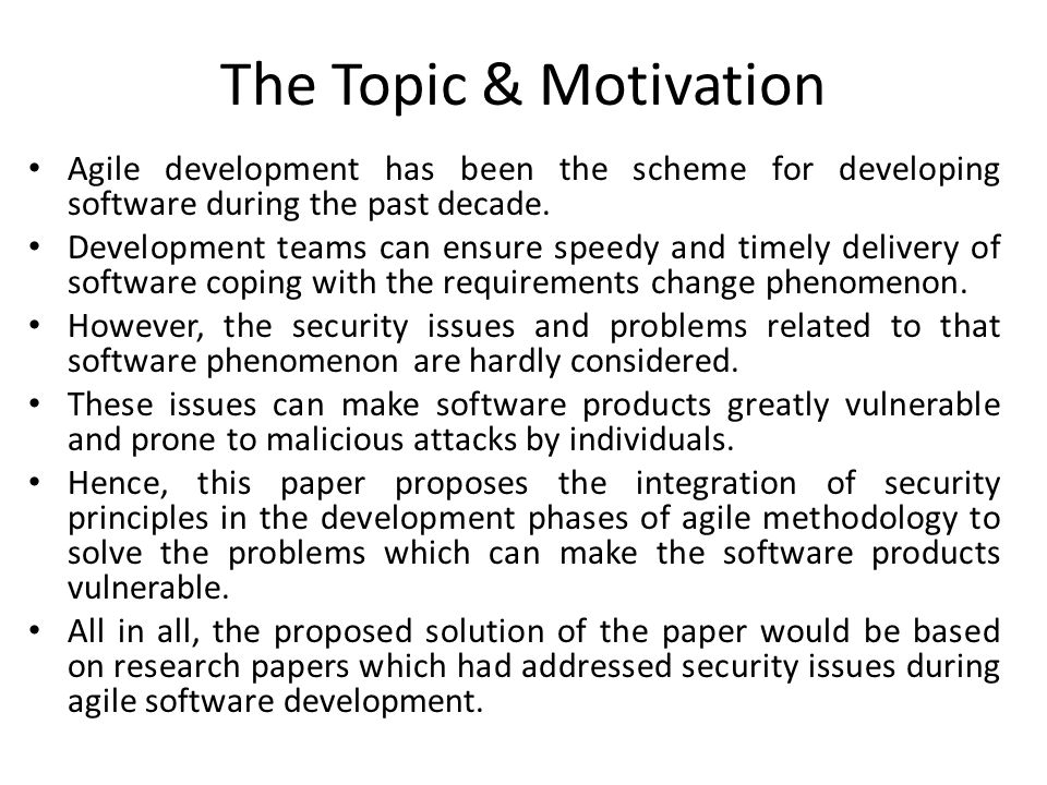 cse advanced topics in software engineering paper  the topic motivation agile development has been the scheme for developing software during the past