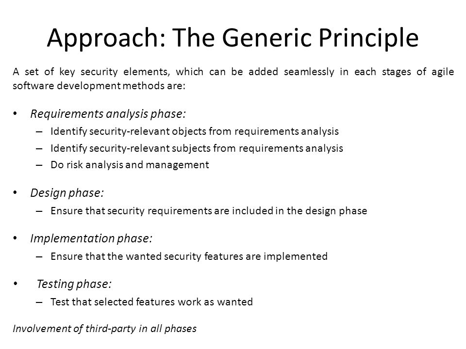 Approach: The Generic Principle